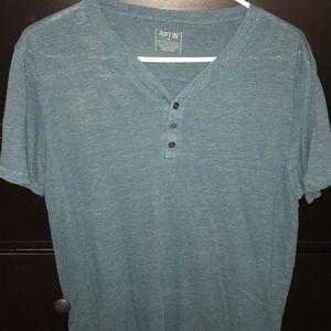 APT.9 Blue Relaxed Henley T-Shirt